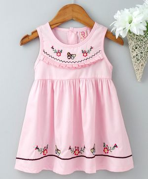 Sunny Baby Sleeveless Frock Floral & Butterfly Embroidery - Pink