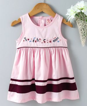 Sunny Baby Sleeveless Frock Floral Embroidered - Light Pink