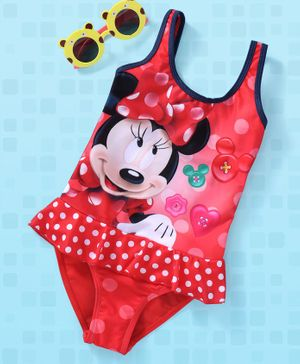 Disney Swim Suit Minnie Mouse Print - Red