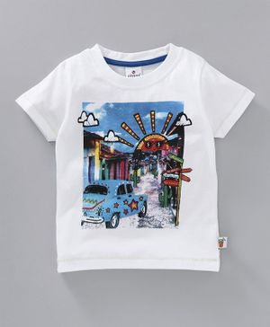 Ollypop Half Sleeves Tee Car Print - White