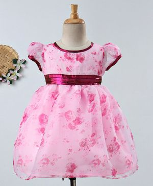 Many Frocks & Floral Print Cap Sleeves Dress - Pink