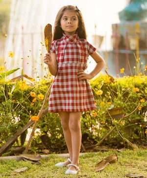 Fairies Forever Half Sleeves Checked Dress - Red & White