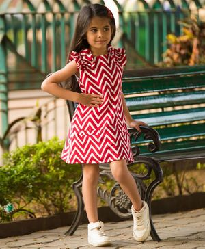 Fairies Forever Chevron Print Sleeveless Dress - Red