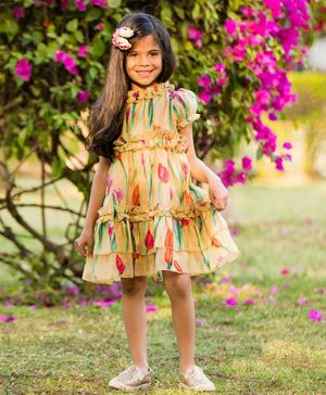 Fairies Forever Tulips Printed Puff Short Sleeves Dress  - Multicolor