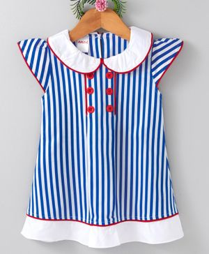 Curlous Cap Sleeves Striped Dress - Blue