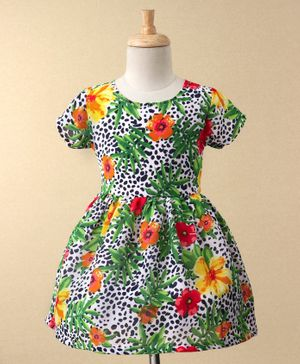 Curlous Floral Print Short Sleeves Dress - Green