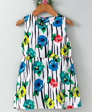 Curlous Sleeveless Flowers Printed Dress - White