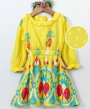 Curlous Full Sleeves Printed Dress - Yellow