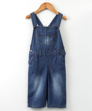 Eimoie Solid Front Buttoned Sleeveless Dungaree - Blue