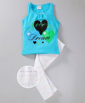 Eimoie Sleeveless Hearts Print Night Suit - Blue