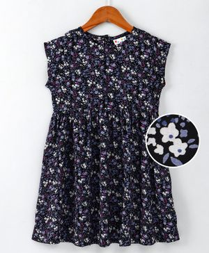 Eimoie Floral Printed Cap Sleeves Dress - Navy Blue