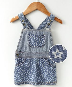Eimoie Sleeveless Star Print Dungaree Style Dress - Blue