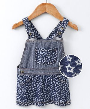 Eimoie Sleeveless Star Print Dungaree Style Dress - Dark Blue