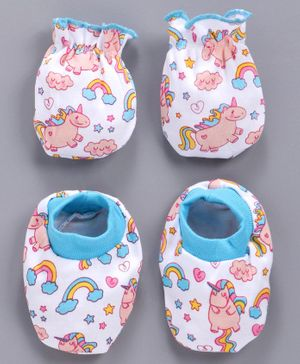 Babyhug Cotton Mittens And Booties Unicorn Print - White Blue