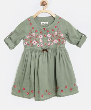 Bella Moda Flower Embroidered Full Sleeves Dress - Green
