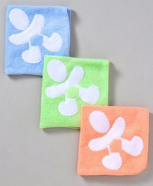 Child World Hand & Face Towel Pack of 3 - Blue Green Orange