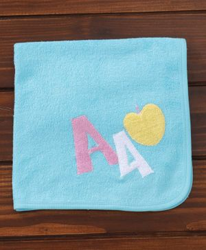 Child World Cotton Towel Apple Design - Teal Blue