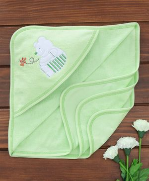 Child World Hooded Towel Bear Embroidery - Green