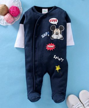 Fox Baby Doctor Sleeves Footed Romper Mickey Mouse Print - Navy Blue White