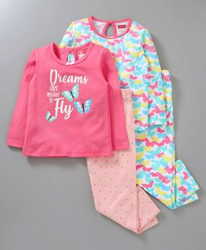 Babyhug Full Sleeves Cotton Night Suit Pack of 2 - Multicolor