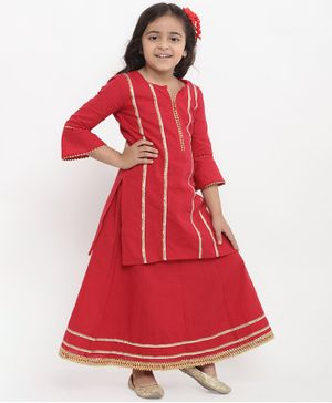 Bitiya By Bhama Striped Three Fourth Sleeves Kurta & Skirt Set - Red