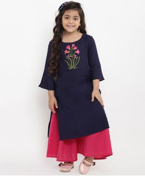Bitiya By Bhama Flower Embroidered Three Fourth Sleeves Kurta & Palazzo Set - Blue