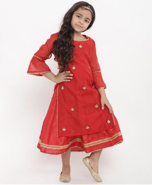 Bitiya By Bhama Flower Design Three Fourth Sleeves Dress With Kurti Set - Red