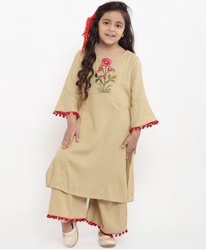 Bitiya By Bhama Flower Design Full Sleeves Kurta With Palazzo Set - Beige