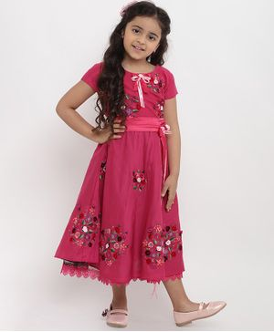 Bitiya By Bhama Floral Design Short Sleeves Dress - Pink