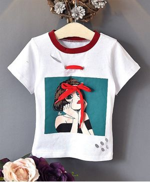 Awabox Half Sleeves Girl Print Tee - White