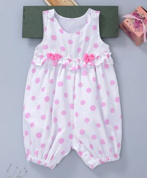 Little Kangaroos Sleeveless Romper Polka Dots Print - Pink & White
