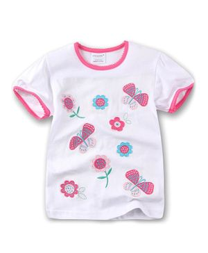 Awabox Flower & Butterfly Patch Short Sleeves T-Shirt - Pink