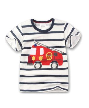 Awabox Firetruck Patch Half Sleeves T-Shirt - White