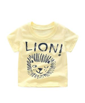 Awabox Lion Printed Short Sleeves T-Shirt - Yellow
