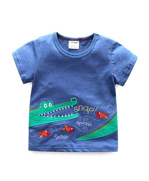 Awabox Crocodile Patch Short Sleeves T-Shirt - Blue