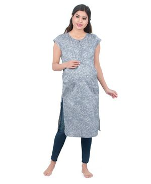 Uzazi Printed Short Sleeves Top - Grey