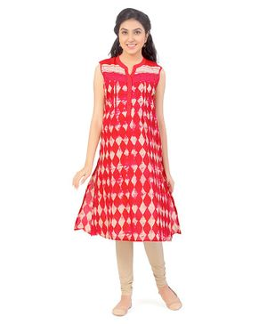 Uzazi Design Print Sleeveless Kurta - Red