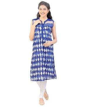 Uzazi Design Print Sleeveless Kurta - Blue