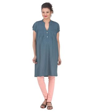 Uzazi Solid Short Sleeves Kurta - Blue