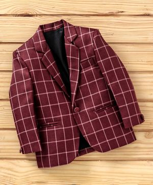 Dew's Burry Checked Full Sleeves Blazer - Maroon