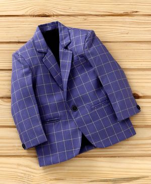 Dew's Burry Checked Full Sleeves Blazer - Purple