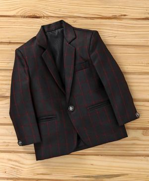 Dew's Burry Checked Full Sleeves Blazer - Black