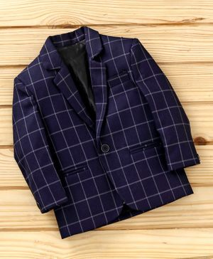 Dew's Burry Checked Full Sleeves Blazer - Navy Blue