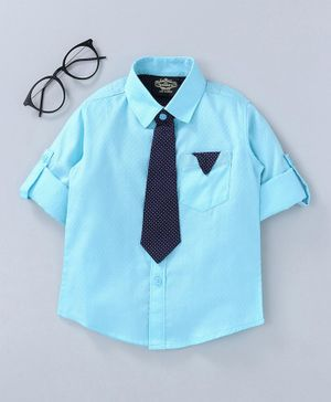 Dew's Burry Solid Full Sleeves Shirt - Sky Blue
