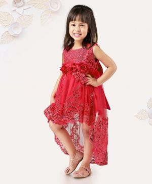 Mark & Mia Sleeveless Frock With Lace Pattern & Flower Corsages - Pink