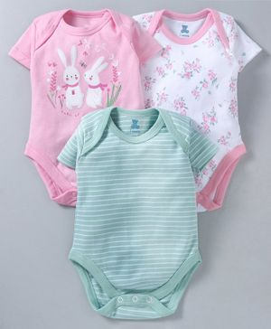 I Bears Half Sleeves Onesies Bunny & Floral Print Pack of 3 - White Green Pink
