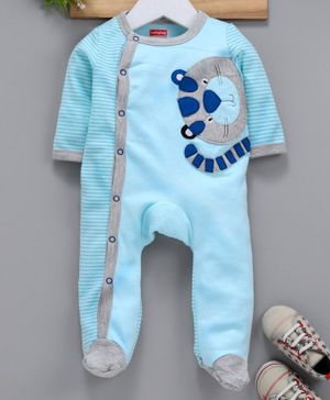 Babyhug Full Sleeves Footed Cotton Sleepsuit Tiger Patch - Light Blue