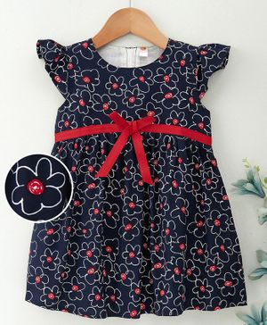Dew Drops Short Flutter Sleeves Frock Floral Print - Navy Blue