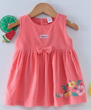 Olio Kids Sleeveless Frock With Waist Bow Applique - Peach