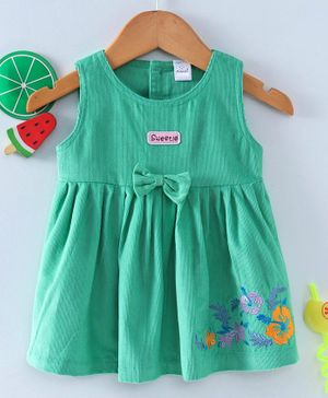 Olio Kids Sleeveless Frock With Waist Bow Applique - Green